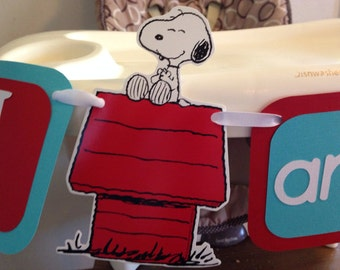 READY TO SHIP Snoopy I am 1 highchair banner/ Snoopy birthday I am 1 banner