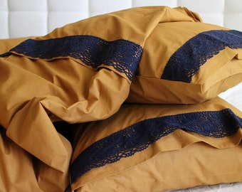 Twin / Twin XL Duvet Cover Full Set Trimmed Lace Mustard Color Cotton Quilt Cover with pillowcase