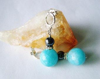 Gemstone jewelry Blue agate earrings Gemstone earrings Sterling silver earrings Blue dangle earrings Gift for her