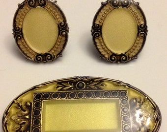 Vintage Art Deco Catherine Popesco brooch and earrings