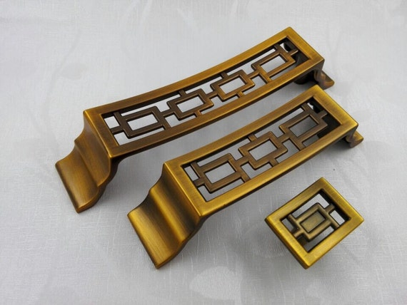 Chinese style antique symmetry pulls knobs drawer for Asian furniture hardware drawer pulls