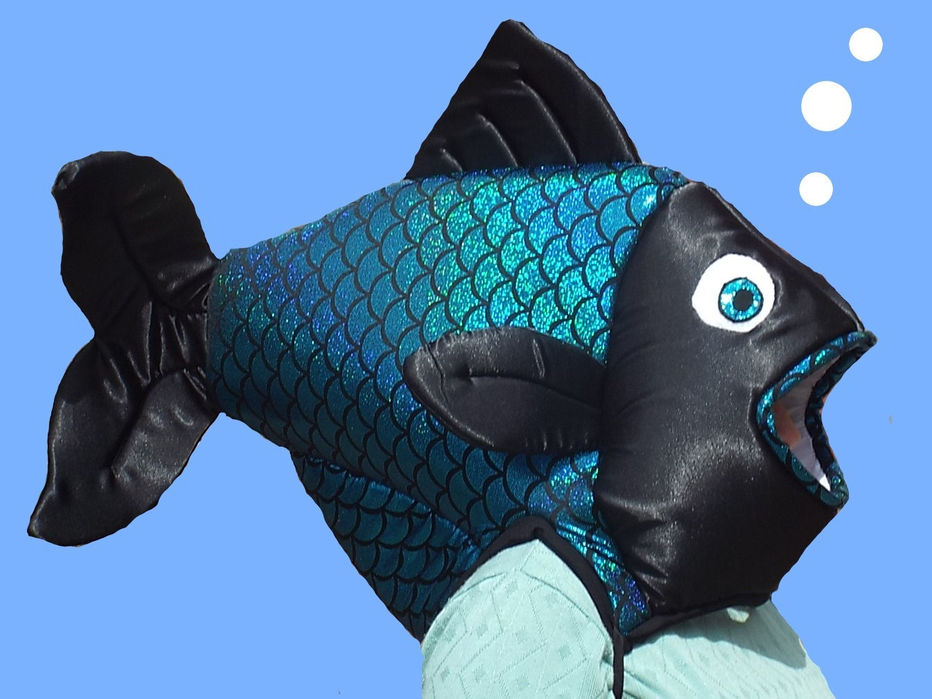 Fish costume fits adult or child satin covered foam head for Sexy fish costume