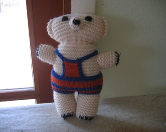 Vintage Hand Knitted Bear, Collectible Doll, Stuffed Animal, 50% OFF