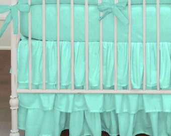 Girl Baby Crib Bedding: Girl Crib Bedding - Solid Teal Triple-Tier / Ruffled Crib Skirt  and Sheet Set by Carousel Designs
