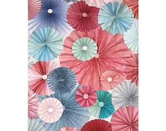 25pc pink blue  Paper Pinwheel Rosette Party Decoration Set wedding , birthday party ,