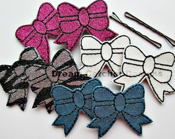 ITH Bow Bobby Pin Feltie Embroidery Design