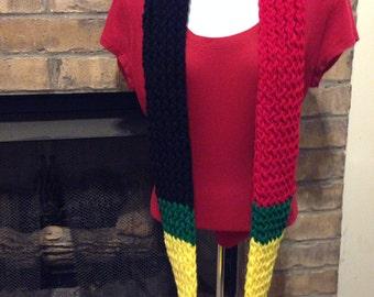 Handmade Knitted Multicolor (Rasta) Infinity Scarf