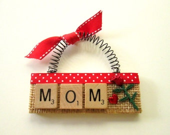 Mom Rose Mother's Day Scrabble Tile Ornament