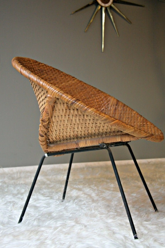 50 S Rattan Reed Cane Chair Mid Century Modern Scoop