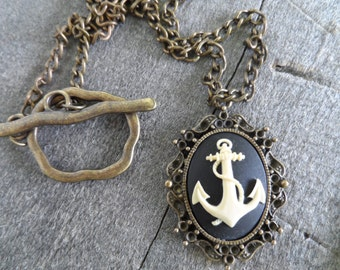 Gothic Cameo Necklace, Pirate's Anchor