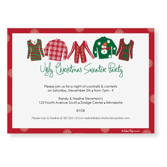 Ugly Christmas Sweater Invitation Template By