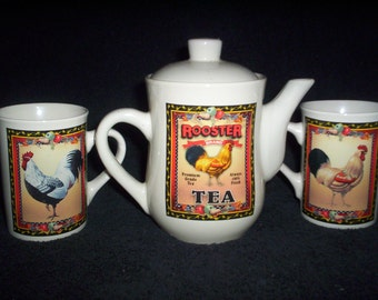 Rooster Tea Set Made by Bay Island Inc.