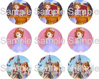 "15 1"" - Precut Bottle Cap Circle Images - Sofia The First Inspired"