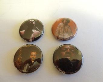 Four jazz pins John Coltrane Alice Coltrane Ornette Coleman Albert Ayler pinback button free