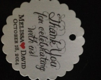 "Personalized Wedding Favor Thank You Celebrating 1.5"" Scalloped Round Hang Gift Tag"