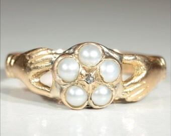 Antique 15k Mid-Victorian Pearl and Diamond Pansy Ring Hallmarked Birmingham 1863