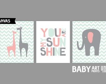 Baby Girl Nursery canvas art, Set of 3 8x10. You Are My Sunshine, Giraffe, Elephant. ( S810028 )