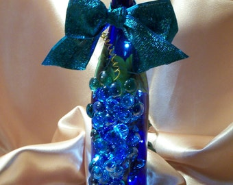 Lighted Blue Wine Bottle with Grape Cluster & Hand Painted Leaves