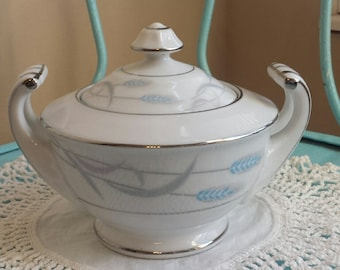 cute cottage shabby chic valmont china royal wheat sugar bowl