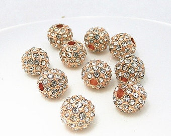 5% OFF Sale 10Pcs Rose Gold Crystal stones Pave Disco Ball Rhinestone Bead Loose Spacer Beads Findings 8MM