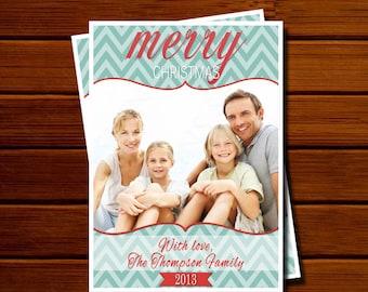 Holiday Photo Card with Teal and Red Chevron - Modern, Christmas, Printable, Digital