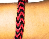 Black and Red Fishtail Rainbow Loom Rubber Band Bracelet