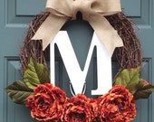 Monogram Fall Wreath,Thanksgiving Wreath, Front Door Wreath, Monogram Wreath, Wedding Wreath, Pumpkin Wreath, Annual Wreath, Spring Wreath