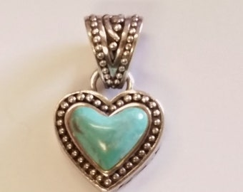 Beautiful Sterling Silver Turquoise Southwestern Style Heart Pendant