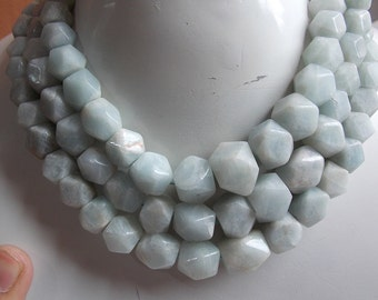 "1. Strand 18"" Aquamarine Hexagon Shape Beads 15X14 To 7X7 MM Approx 100% Natural Fine AAA Quality Wholesale Price New Arrival"