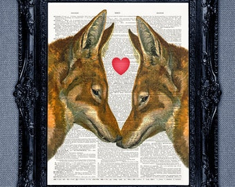 Fox In Love Dictionary Art Print. Your personal message can be added for gift or wedding gifts. Animals in love dictionary page at print.