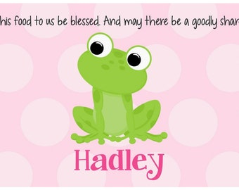 Personalized Placemat - Kids Placemat - Childrens Placemat - Childs Placemat - Laminated Placemat - Baptism Gift - Frog Girl