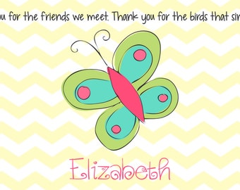 Personalized Placemat - Kids Placemat - Childrens Placemat - Childs Placemat - Laminated Placemat - Baptism Gift - Butterfly