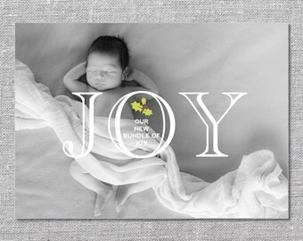 Photo Holiday Card | Printable or Printed | Our Bundle of Joy | Baby's First Christmas | Birth Announcement | 5x7