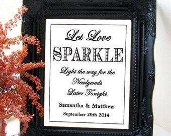 "Instant Download- Let Love Sparkle, Modern Sparkler Send Off White Wedding Sign, DIY Printable Jpeg PDF 8"" x 10"""