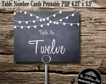 Instant Download- Printable PDF DIY String Lights On Chalkboard Wedding Table Number Card Template; 4 Per Sheet