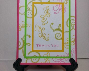 Pink, green, and yellow Thank You Card