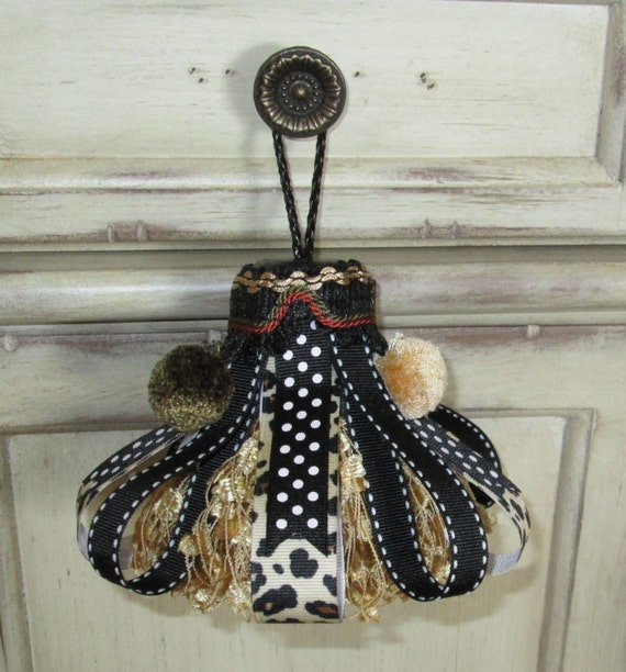 Gold and Black Leopard Decorative Tassel, Leopard Home Decor, Animal Print Home Decor