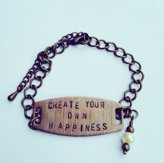 Design Make Your Own Jewellery: Items Similar To Happiness Stamped Bracelet, Happiness