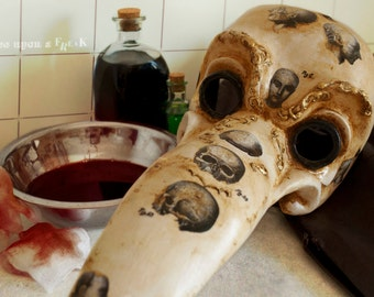 Victorian Plague doctor Venetian mask with phrenology engravings.