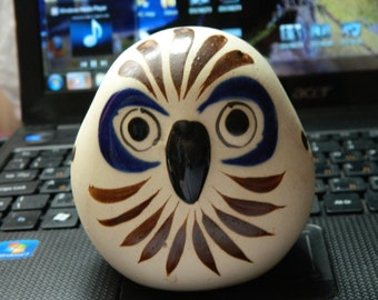 Vintage Mexican Art Pottery Owl Figurine
