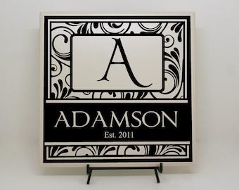 Custom Wedding Decor, Custom Tile, Wedding Sign, Anniversary Gift, Personalized Gift, Personalized Tile, Monogram Tile, Last Name Sign