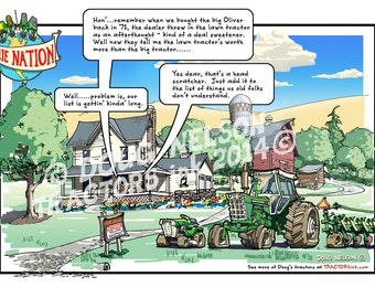 "8.5""x11"" Color Print of Ollie Nation Cartoon. (ON8-lawn tractor & 1955)"