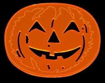 Halloween Coaster  Freddie Pumpkin - laser cut & engraved - Orange Neon acrylic set of 1 or set of 4