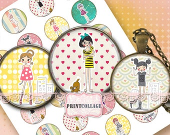 Fancy Girls Two Digital Printable Sheet 1 inch and 12 mm size circles-Printable images for pendants magnets cab settings C56