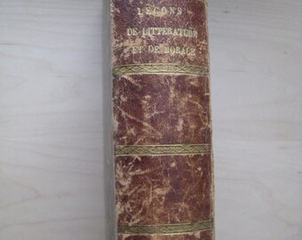 "1842 ""Lecons Francaise De Litterature"", Antique Leather Bound French Book On Literature."