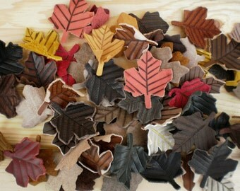 Jewelry supplies, Leather charms, Leaves charms, Assorted colors, Maple leaf, Assorted Leather Leaves