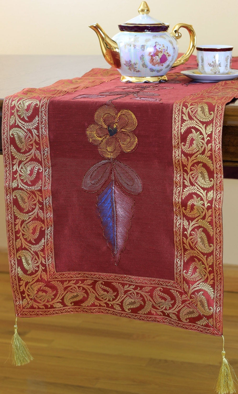 Hand painted 120 inch by 17 inch table runner saffron red for 120 table runners