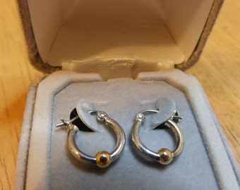 925 Two Tone Sterling Silver Small Size Hoop Earrings, Jewelry Sale