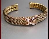 Vintage David Yurman Designer 14k Yellow and Pink Gold Bangle