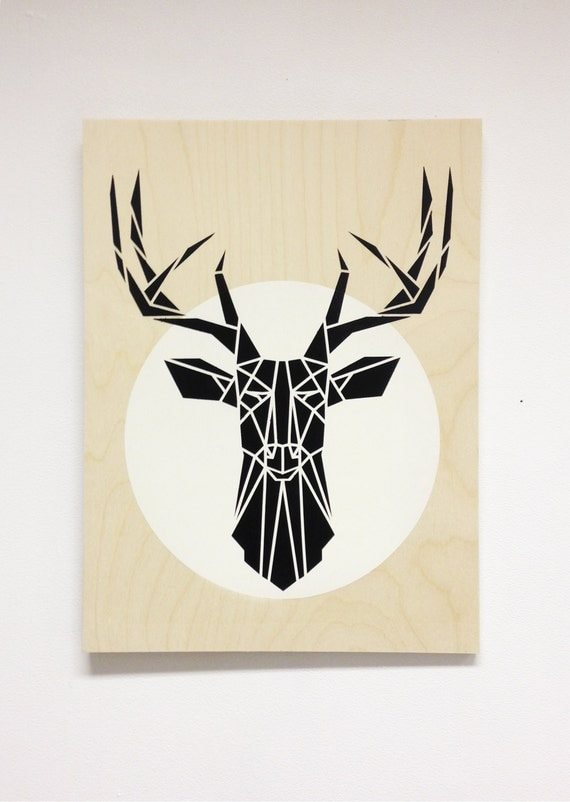 Stencils For Wall Decor : Items similar to t?te de cerf minimaliste sur contreplaqu?